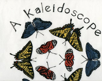 A Kaleidoscope of Butterflies Linocut - Terms of Venery, Collective Noun for Animals, Insects, Butterflies, Typography, Lino Block Print