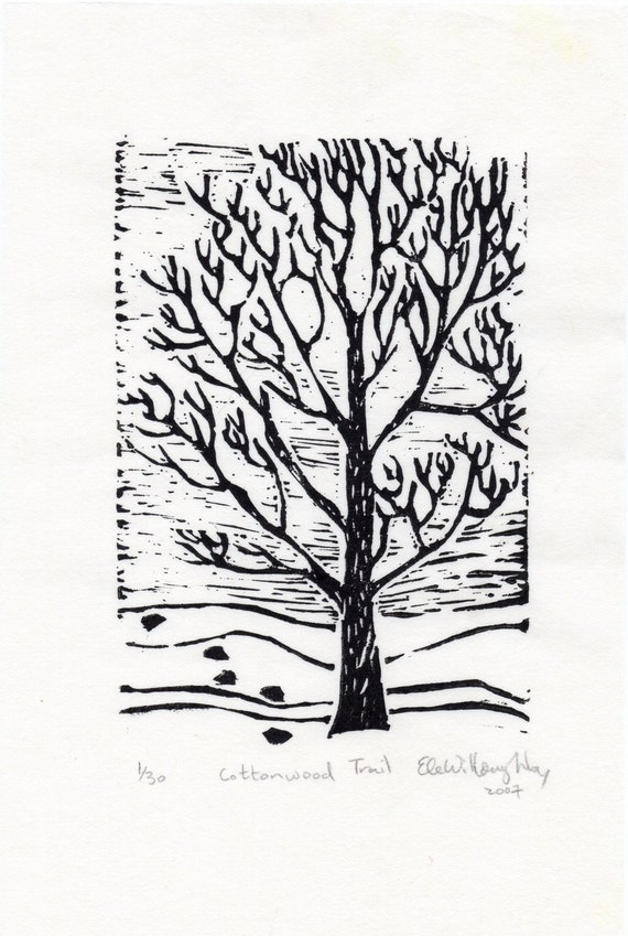 The Cottonwood Trail linocut - Limited Edition - Black and White Lino Block Print, Winter Scene, Tracks and Cottonwood Tree