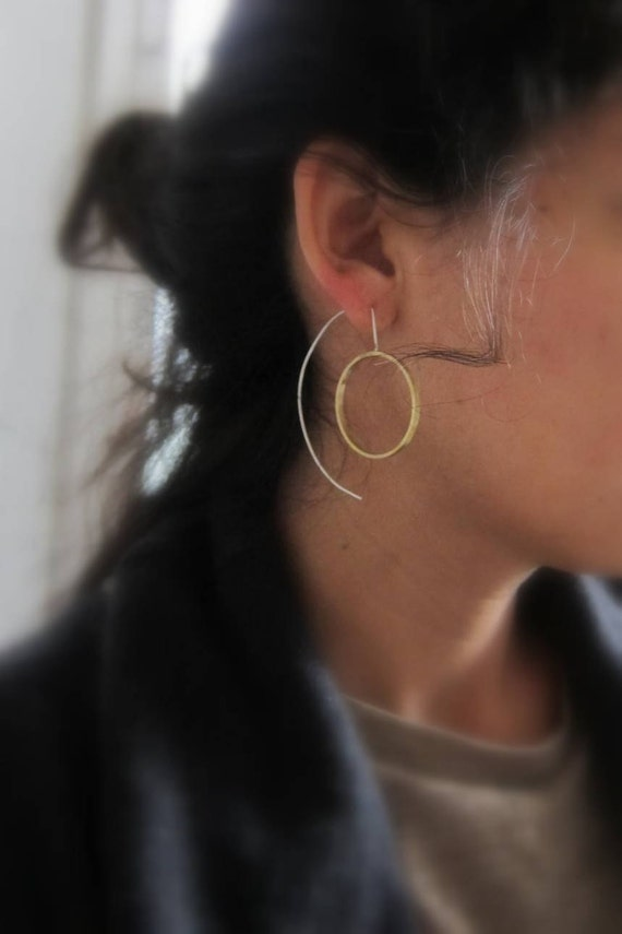 """Silver and brass dangle earrings """"Crop Circles"""""""