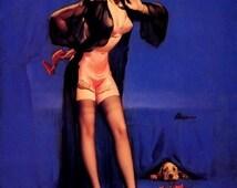 I LOVE LUCY Valentine Elvgren -2 for 1 Sale Negligee Sheer Pin-up Crocker Spaniel stockings Lingerie, sheer robe nylons satin panties pinup