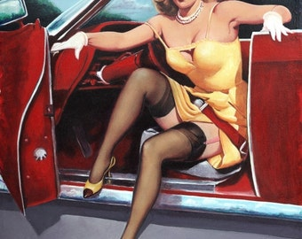LARGE 20x24 Canvas Elvgren STEPPING OUT Hot Rod Burlesque Pinup up skirt sheer nylons stockings Pin-Up Auto Convertible Gas Station Vintage