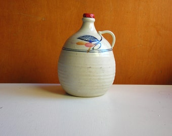 Vintage Stoneware Jug, Japanese Style Blue Glaze on Natural White Clay, Art Pottery Vase or Crock.  Stoneware Bottle with Handle and Cork.