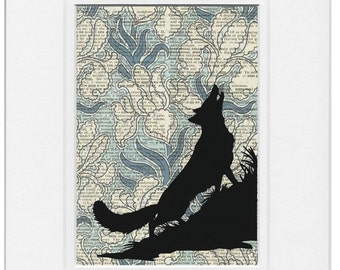 Wolf and Irises print