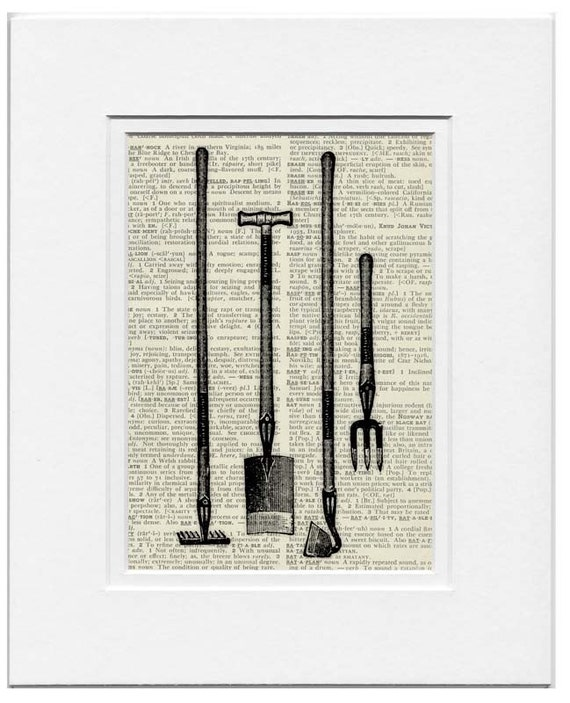 Items similar to vintage garden tools print on etsy for Gardening tools vintage
