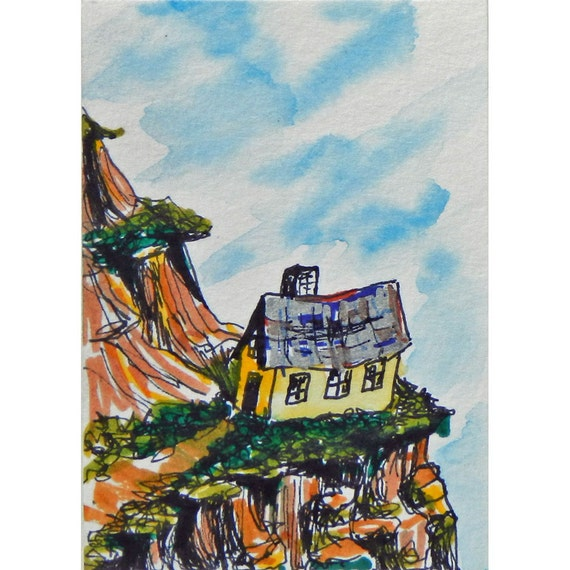Grannys Cliff House, whimsical mountain ACEO art card