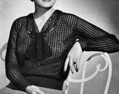 Stunning 1930s Crocheted Blouse - Vintage Crochet Pattern - PDF eBook