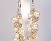 Ivory Pearls & Champagne Crystals, 14k gold, chandelier earrings Wedding earring jewelry, butter, off white, soft ivory, cream, light brown