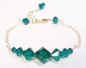 Emerald Green Crystal Bridesmaid Bracelet, 14k Gold Metal, forest, clover, kelly, fern, loden, seamist, ocean, meadow, shamrock, fruit green