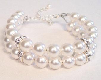 Double Strand White Pearl Bridal Bracelet with Rhinestone Accents, Wedding Bracelet, diamond white, chunky, pure white, snow white