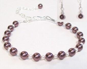 Burgundy & White Bridesmaids Jewelry Set, Pearl Bracelet and Earrings, Burgundy Weddings, wine, eggplant, mulberry, concord, plum