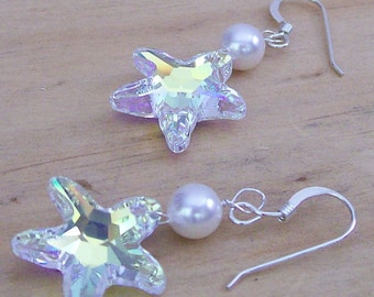 Crystal & Pearl Starfish Earrings, Beach Wedding Jewelry, Nautical Accessories, prism, white, lustrous, rainbow shimmer, diamond white