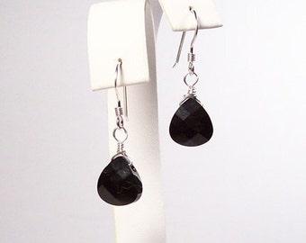 Black Bridesmaids Earrings, Teardrop Crystal Earrings, Black Bridesmaids Jewelry, Jet Black teardrops, Black Weddings, Black Teardrop Jewelr