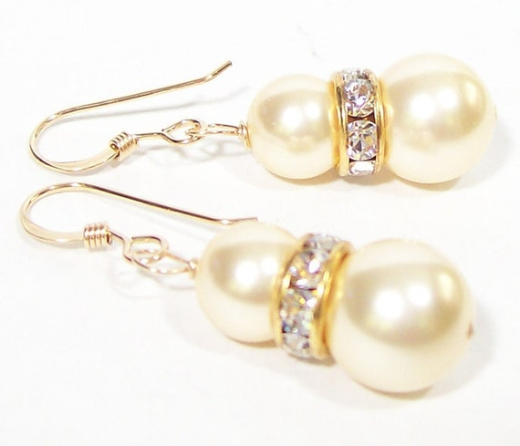 Champagne Rhinestone Bridal Earrings,  Champagne Bridesmaids, Gold Weddings, Sparkly Pearl, 14k gold, light gold pearls, butterscotch,