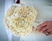 RESERVED Lace Bouquet - Cotton Fabric  Bouquet, Heirloom Wedding Bouquet, Fabric Flower Bouquet, Alternative Bouquet