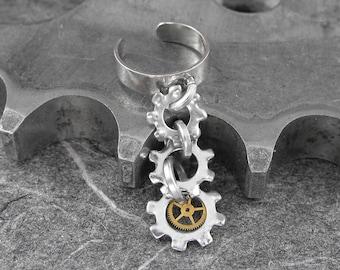 Steampunk Ear Cuff Mechanical Silver Dangle - Screech and Mechanical Uproar by COGnitive Creations