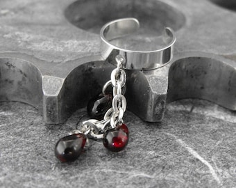 Crimson Red Silver Ear Cuff - Blood Flow of Life by COGnitive Creations