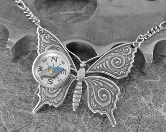 Steampunk Compass Butterfly Silver Necklace - Flight of the Travelling Butterfly by COGnitive Creations