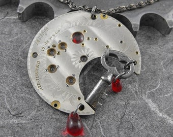 Steampunk Bleeding Key Necklace - The Painful Key to Happiness by COGnitive Creations