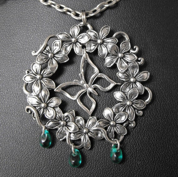 Emerald Green Silver Butterfly Necklace - Tears of Metamorphosis by COGnitive Creations