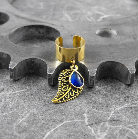Sapphire Blue on Gold Leaf Ear Cuff - Blue Tear of Nature by COGnitive Creations