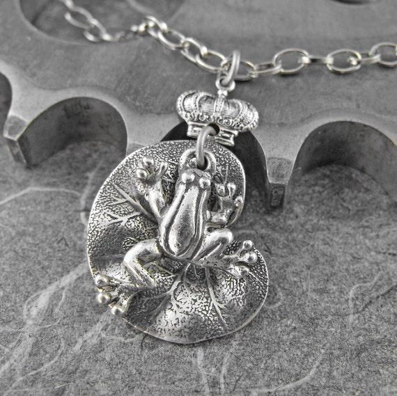Frog Prince Dangle Silver Necklace - Ode To the Frog Prince by COGnitive Creations