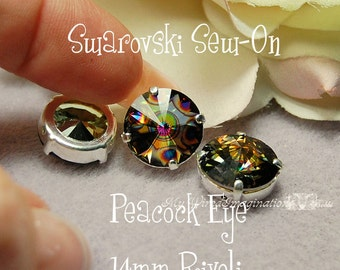 Peacock Eye Rivoli, 1122 Sew On Swarovski Crystal, 14mm With Prong Setting, Crystal Sew On Craft Supplies Jewelry Beading Crafts
