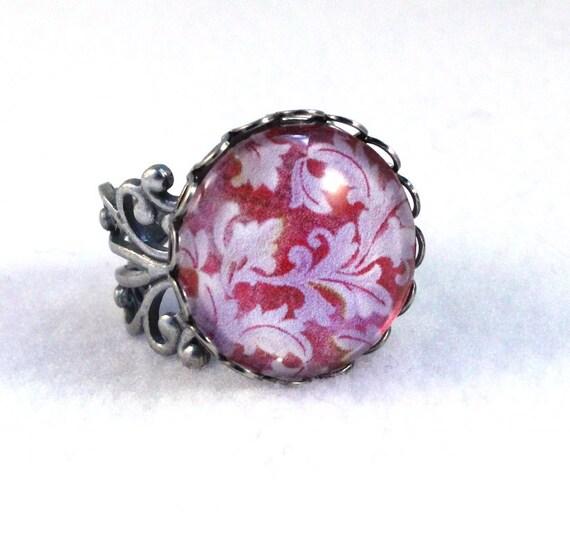 Flowers Ring, Silver Ring, Art Deco Filigree Ring, Victorian Cocktail Ring, Fashion Jewelry, Original Art Print, Purple Burgundy