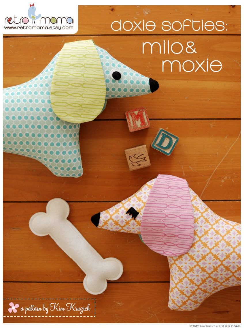 Stuffed animal pattern pdf sewing pattern doxie softie for Sewing templates for stuffed animals