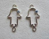 2 Hand of Fatima Connectors with Enameled Eye, Silver Plated