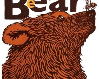 Beebear linocut print