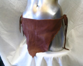REaDY To SHIP!! Authentic Leather Loincloth FESTIVAL Deerskin Unisex COMICON Fetish Brown Swimwear Sexy Tarzan Custom made by Debbie Leather