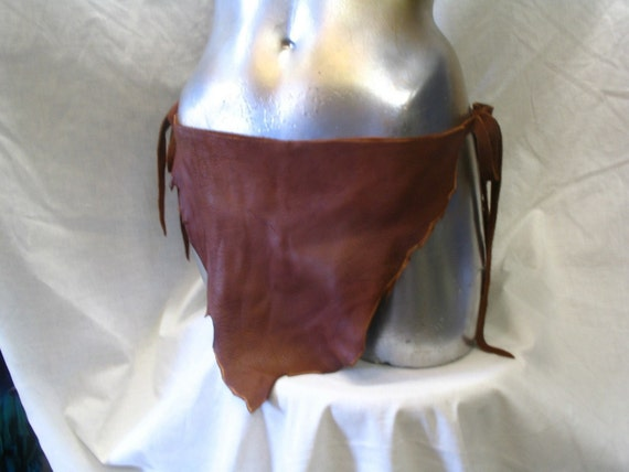 Authentic Leather Loincloth FESTIVAL Deerskin Unisex COMICON Fetish Brown Swimwear Sexy Tarzan Custom Handmade by Debbie Leather