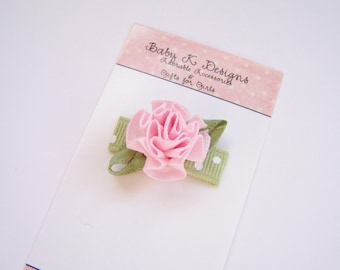 Infant Clips / Newborn Clip / Girls Hair Clip /Pink Cabbage Rose No Slip Baby Snap Clip / For Nearly Bald Baby Girls