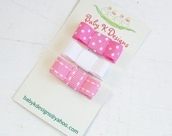 Set of Three Newborn Baby Girls Mini Bow Snap Clip | Infant Clips | Toddler Girls Petite Tuxedo Bows PINK SUGAR No Slip Barrettes More Color