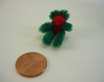 Tiny Teddy Bear Red and Green Dollhouse Miniature Doll House Printers Drawer