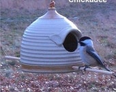 Handmade Bird Feeder (sand and golden  tan) Great Sunflower Pottery Seed Feeder