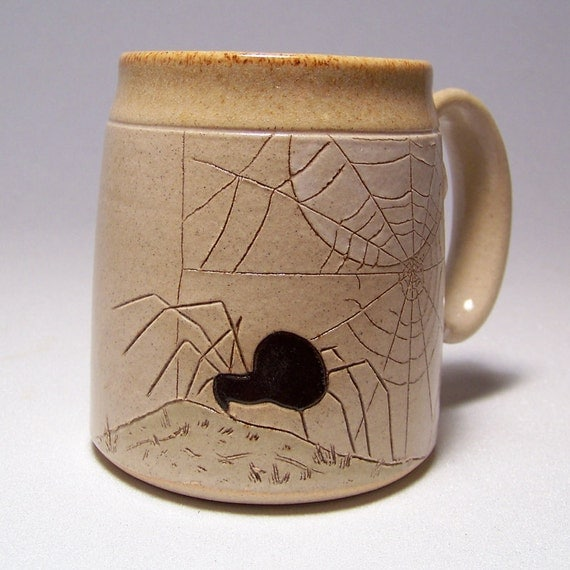 Spider and Moon Pottery Coffee  Mug Limited Series 173 (microwave safe) 12 oz