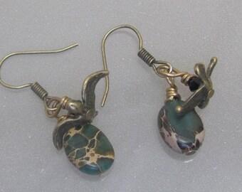 Crumbling Land, brass, bird and impression, jasper (earrings)