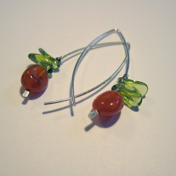 Coral Agate Orchid Earrings