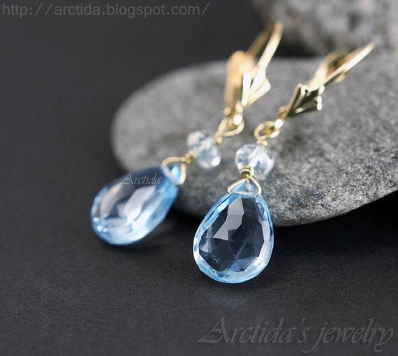 14K solid gold jewelry Aquamarine Blue Topaz earrings Blue topaz jewelry fine jewelry something turquoise March birthstone rusteam - Calypso