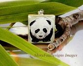 Panda Bear Scrabble Pendant Necklace Scrabble Tile Necklace, Original Hand Painted Scrabble Tile, Pendant Necklace Free US Shipping