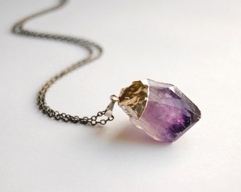 Raw Amethyst Crystal Necklace - Small - Silver Plated - FREE US Shipping