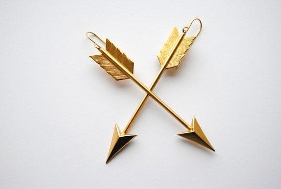 Large Brass Arrow Charm Earrings. Long Bohemian Dangles. Gifts Under 25. Boho Chic Jewelry. Long Sexy Earrings. FREE Shipping in US