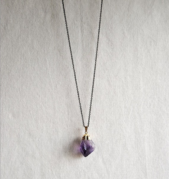 SALE - Raw Amethyst Crystal Necklace - Medium - Gold Plated - FREE US Shipping