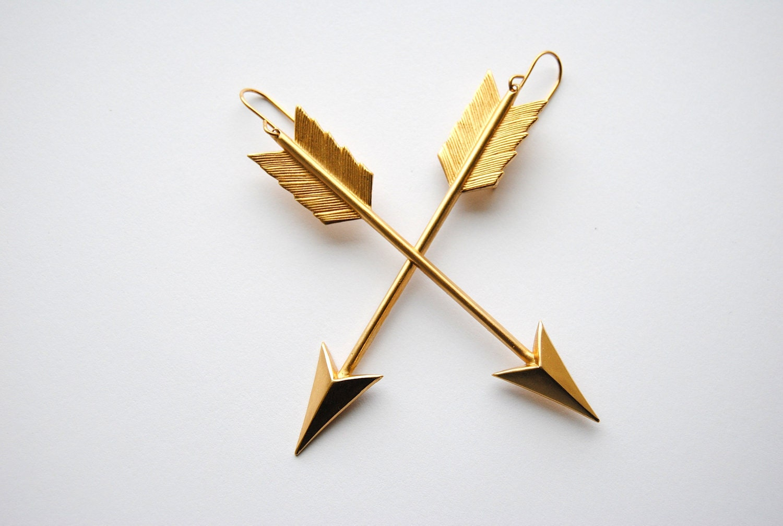 large brass arrow charm earrings bohemian by sparklefarm