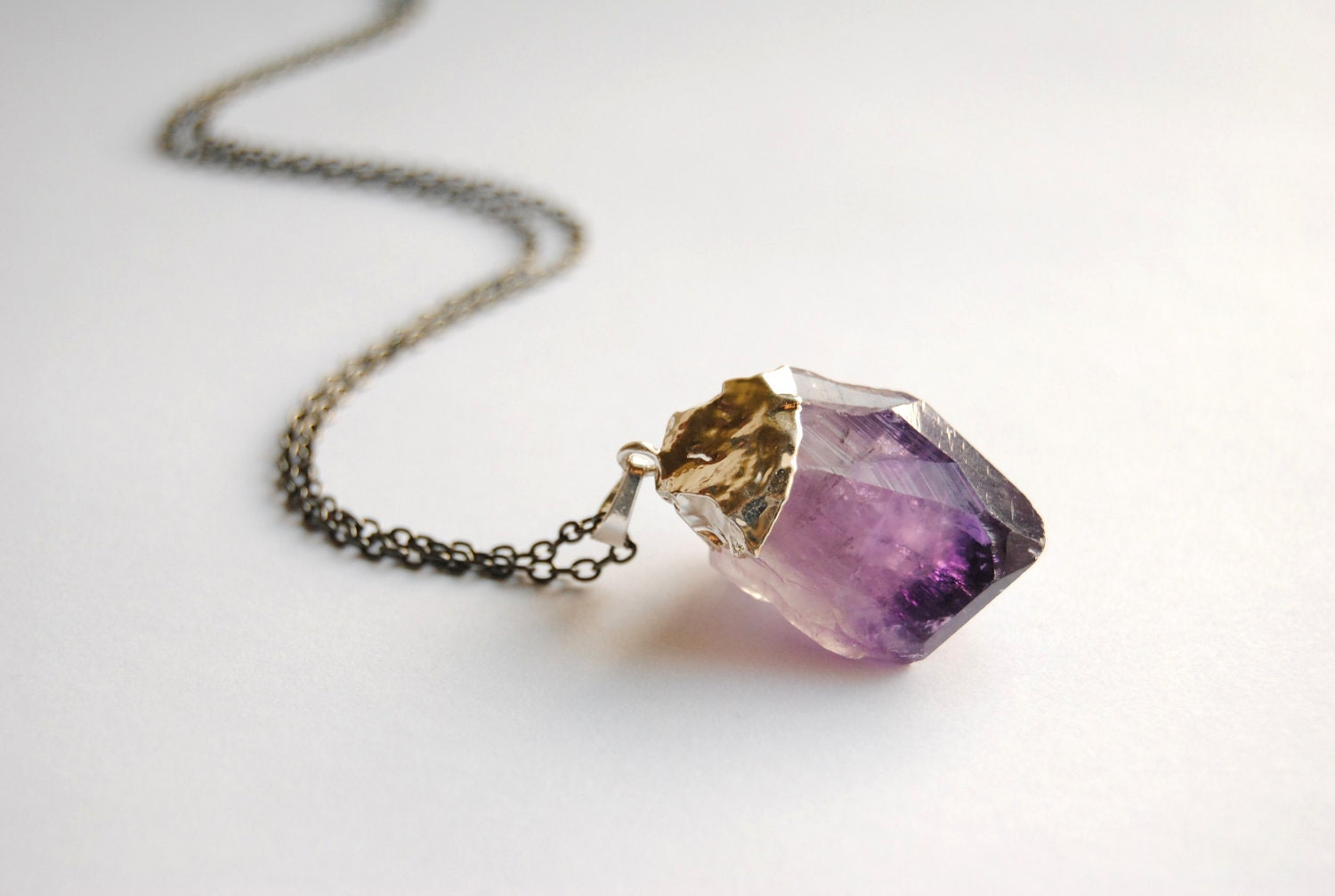 SALE Raw Amethyst Crystal Necklace Small Silver Plated