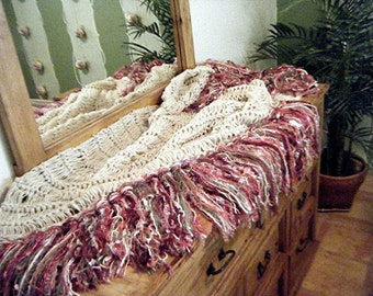 Shabby Chic Rose, Ivory Fringe Home Accent Throw Blanket,  Dusty Mauve Pink, Burgundy, Cream Afghan