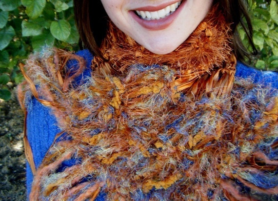 Copper Scarf with Gold, Blue Texture Accents. Hand Knit, Satin Ribbon Women's Fashion Accessory in Pumpkin