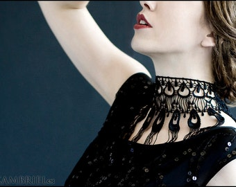 La Plume Black Peacock Lace Choker by Kambriel