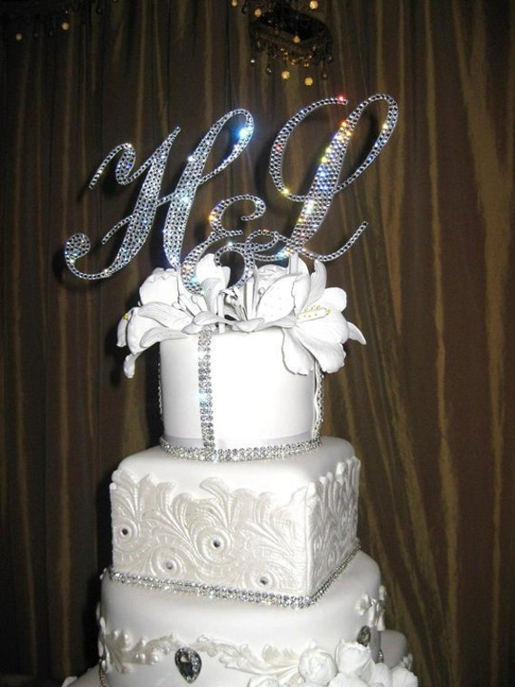swarovski crystal monogram wedding cake toppers letter swarovski custom monogram cake topper free by 20676